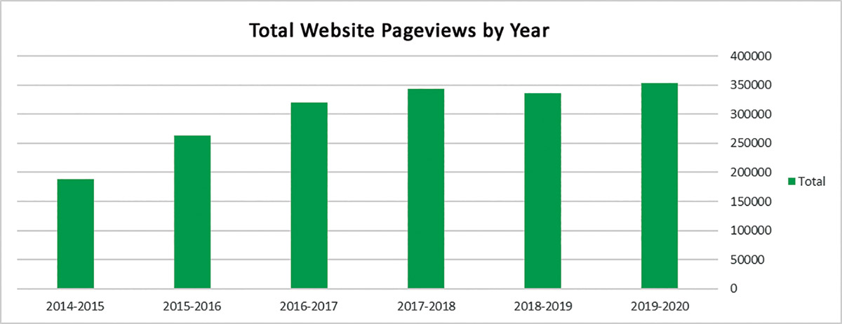 Total Website Pageviews by Year